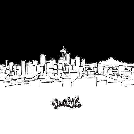 Seattle skyline, outline. Vector drawing of skyline, outline, USA. Black and white illustration concept.