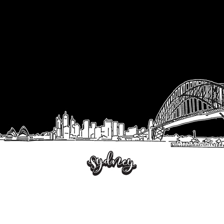 Vector drawing of Sydney skyline, outline. Australia travel landmark. Black and white cover and background concept.