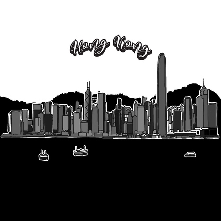 Vector drawing of Hong Kong skyline, outline. China travel landmark. Black and white cover and background concept.