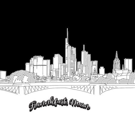Vector drawing of Frankfurt skyline, outline Germany. Black and white illustration concept. Stock Illustratie