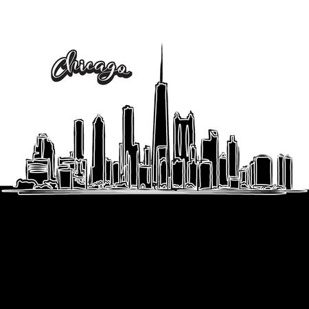 Vector tekening van de skyline van Chicago, overzicht. USA reizen mijlpaal. Zwart-wit dekking en achtergrond concept.
