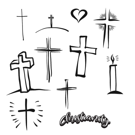 Set of hand-drawn Christianity symbols. Various religious historical symbols painted by hand. Vector drawing.