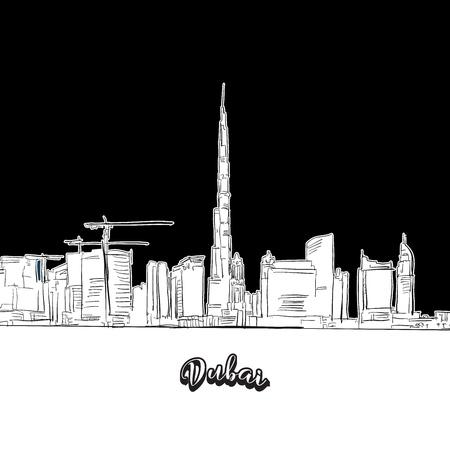 Dubai skyline, outline. Vector drawing of skyline, outline, United Arab Emitates. Black and white illustration concept.