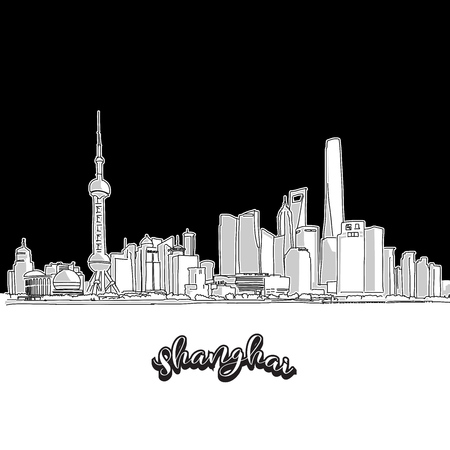 Vector drawing of Shanghai skyline, outline. China travel landmark. Black and white illustration cover and background concept. 向量圖像