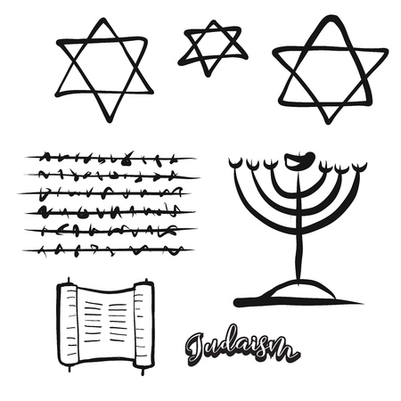 Set of hand-drawn Jewish symbols. Various religious historical symbols painted by hand. Vector drawing.