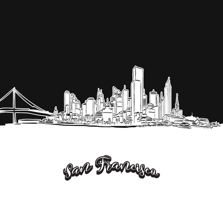 Vector drawing of San Francisco skyline, outline. USA travel landmark. Black and white cover and background concept.