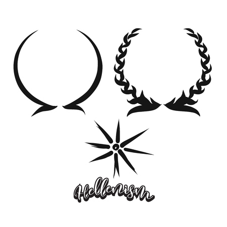 Set of hand-drawn Hellenism symbols. Various religious historical symbols painted by hand. Vector drawing. Illustration
