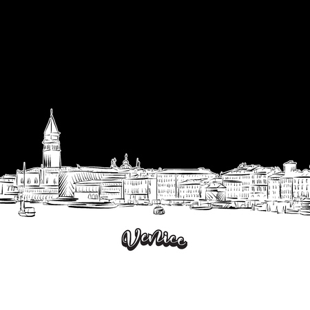 Venice skyline, outline. Vector drawing of skyline, outline, Italy. Black and white illustration concept.