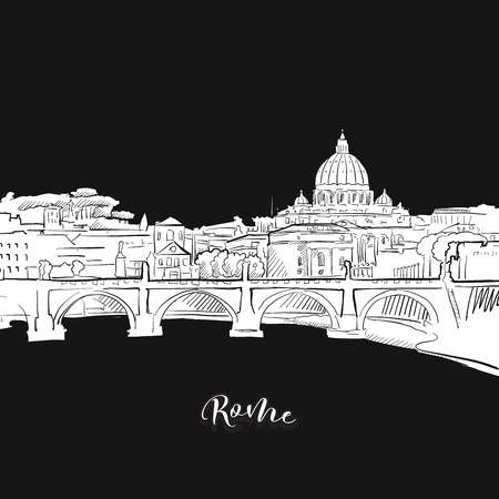 Vector drawing of Rome skyline, outline. Italy travel landmark. Black and white cover and background concept.