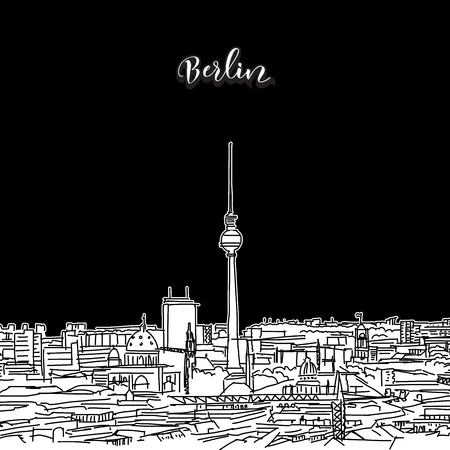 Vector drawing of Berlin skyline, outline. Germany travel landmark. Black and white cover and background concept. Illustration