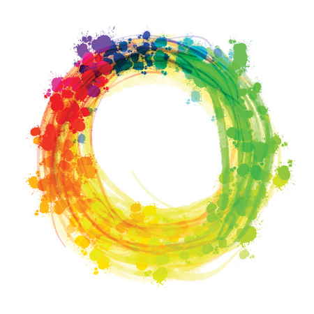 Multicolor splashed watercolor circle. Hand drawn vector sketch for poster and advertising design.