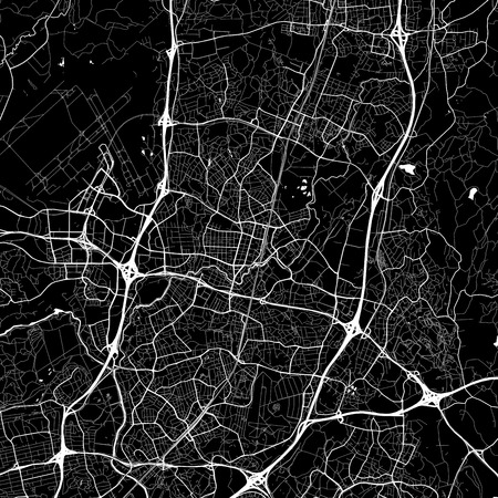 Area map of Vantaa, Finland. Dark background version for infographic and marketing projects. This map of Vantaa, contains typical landmarks with streets, waterways and railways.