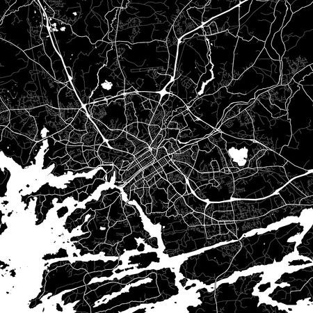 Area map of Turku, Finland. Dark background version for infographic and marketing projects. This map of Turku, contains typical landmarks with streets, waterways and railways. Illustration