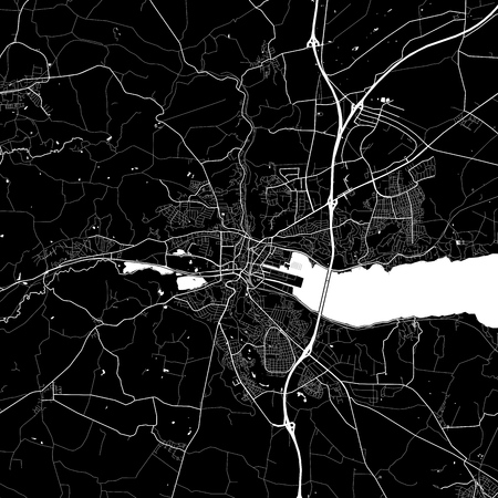 Area map of Vejle, Denmark. Dark background version for infographic and marketing projects. This map of Vejle, contains typical landmarks with streets, waterways and railways. Ilustrace