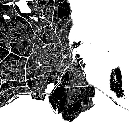Area map of Copenhagen, Denmark. Dark background version for infographic and marketing projects. This map of Copenhagen, contains typical landmarks with streets, waterways and railways. Vector Illustration