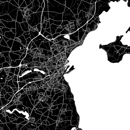 Area map of Aarhus, Denmark. Dark background version for infographic and marketing projects. This map of Aarhus, contains typical landmarks with streets, waterways and railways.