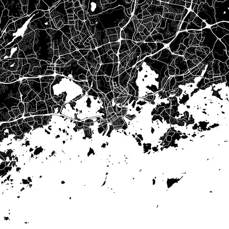 Area map of Helsinki, Finland. Dark background version for infographic and marketing projects. This map of Helsinki, contains typical landmarks with streets, waterways and railways.