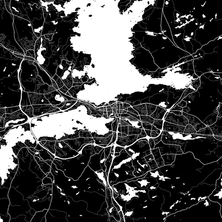 Area map of Tampere, Finland. Dark background version for infographic and marketing projects. This map of Tampere, contains typical landmarks with streets, waterways and railways. Ilustração