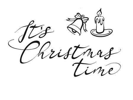 Es ist Weihnachtszeit-Schriftzug. Schöne saisonale kalligraphische Grafik für Grußkarten. Handgezeichnete Vektorskizze.