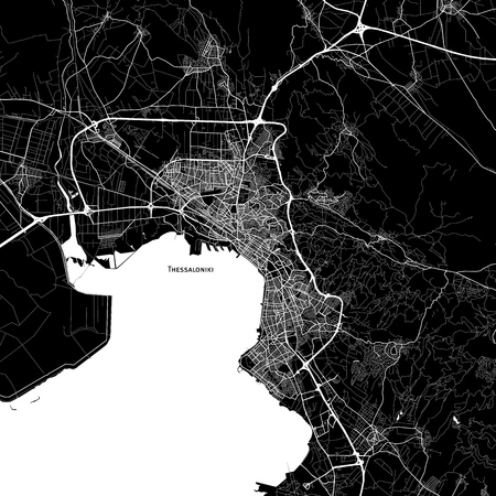 Area map of Thessaloniki, Greece. Dark background version for infographic and marketing projects. Illustration