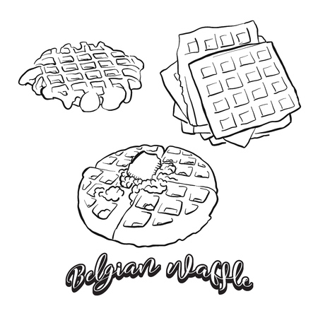 Hand drawn sketch of Belgian waffle bread. Vector drawing of Waffle food, usually known in Belgium. Bread illustration series. Ilustração