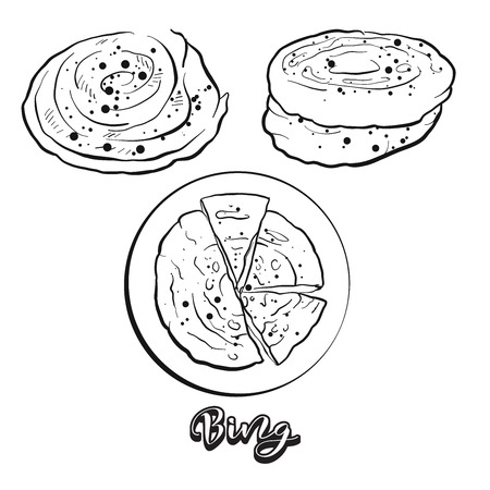 Hand drawn sketch of Bing bread. Vector drawing of Flatbread food, usually known in China. Bread illustration series. 向量圖像
