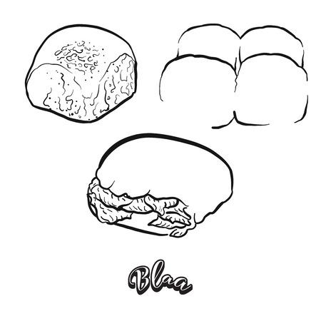 Boceto dibujado a mano de pan Blaa. Dibujo vectorial de comida Bun, generalmente conocida en Irlanda. Serie de ilustraciones de pan. Ilustración de vector