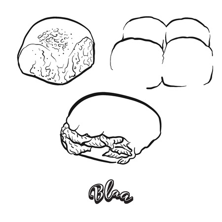 Hand drawn sketch of Blaa bread. Vector drawing of Bun food, usually known in Ireland. Bread illustration series.