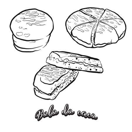 Hand drawn sketch of Bolo do caco bread. Vector drawing of Flatbread food, usually known in Portugal and Madeira. Bread illustration series.
