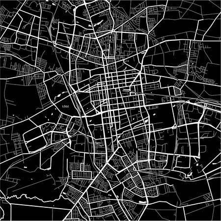 Area map of Łódź, Poland. Dark background version for infographic and marketing projects. 向量圖像