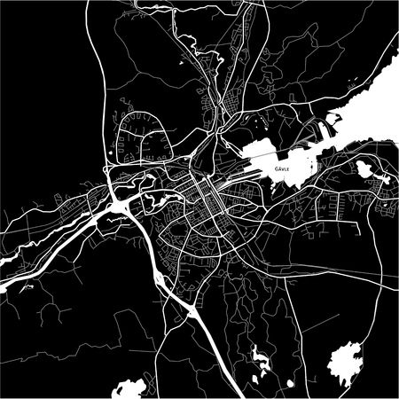 Area map of Gävle, Sweden. Dark background version for infographic and marketing projects.