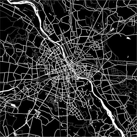 Area map of Warsaw, Poland. Dark background version for infographic and marketing projects. Illustration