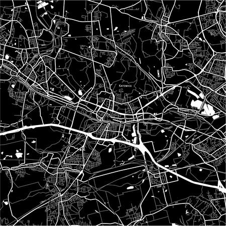 Mapa obszaru Katowic, Polska. Wersja z ciemnym tłem dla projektów infografiki i marketingowych. Ilustracje wektorowe