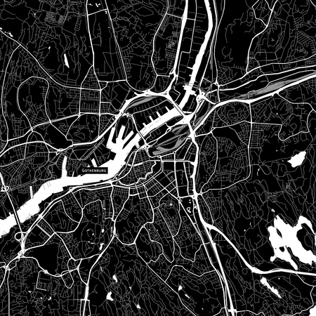 Area map of Gothenburg, Sweden. Dark background version for infographic and marketing projects. Illustration