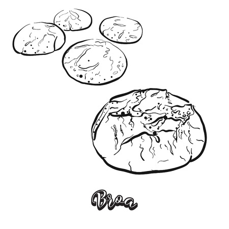 Hand drawn sketch of Broa bread. Vector drawing of Cornbread food, usually known in Portugal. Bread illustration series.
