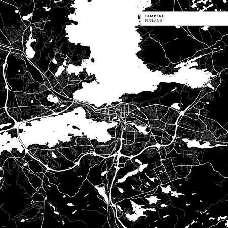 Area map of Tampere, Finland with typical urban landmarks like buildings, roads, waterways and railways as well as smaller streets and park trails. Removable city label placed on top.