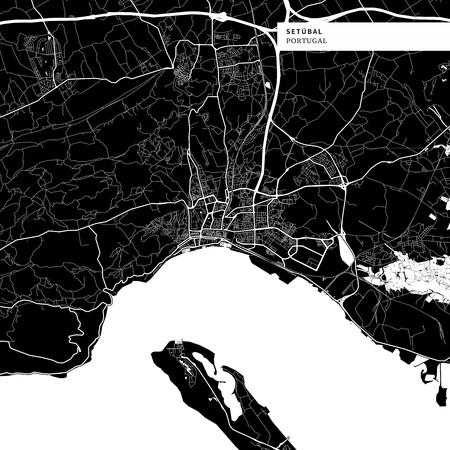 Umgebungskarte von Setubal, Portugal mit typischen städtischen Sehenswürdigkeiten wie Gebäuden, Straßen, Wasserstraßen und Eisenbahnen sowie kleineren Straßen und Parkwegen. Abnehmbares City-Label auf der Oberseite.