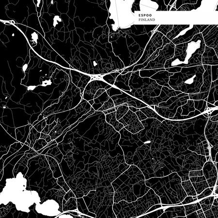 Gebietskarte von Espoo, Finnland mit typischen städtischen Sehenswürdigkeiten wie Gebäuden, Straßen, Wasserstraßen und Eisenbahnen sowie kleineren Straßen und Parkwegen. Abnehmbares Stadtetikett oben platziert.