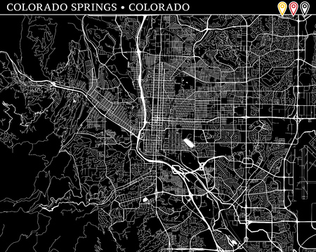 Simple map of Colorado Springs, Colorado, USA. Black and white version for clean backgrounds and prints. This map of Colorado Springs contains three markers who are grouped and can be moved separetly in vector version.