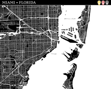 Simple map of Miami, Florida, USA. Black and white version for clean backgrounds and prints. This map of Miami contains three markers who are grouped and can be moved separetly in vector version.