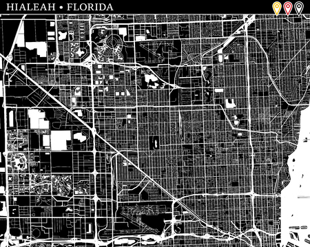 Simple map of Hialeah, Florida, USA. Black and white version for clean backgrounds and prints. This map of Hialeah contains three markers who are grouped and can be moved separetly in vector version. 向量圖像