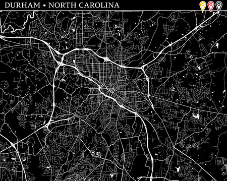 Simple map of Durham, North Carolina, USA. Black and white version for clean backgrounds and prints. This map of Durham contains three markers who are grouped and can be moved separetly in vector version.