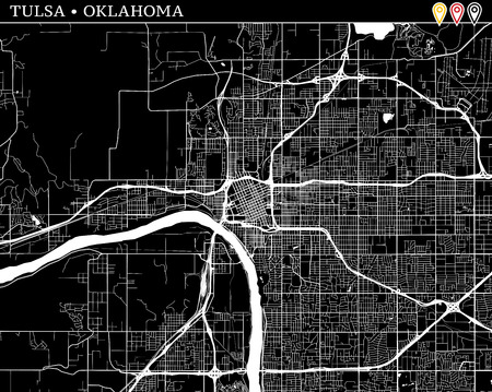 Simple map of Tulsa, Oklahoma, USA. Black and white version for clean backgrounds and prints. This map of Tulsa contains three markers who are grouped and can be moved separetly in vector version.