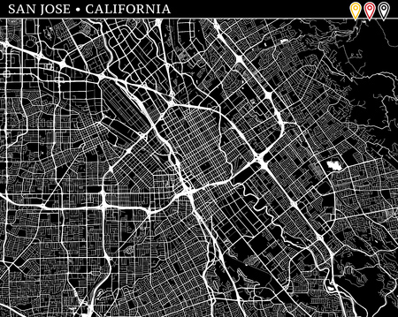 Simple map of San Jose, California, USA. Black and white version for clean backgrounds and prints. This map of San Jose contains three markers who are grouped and can be moved separetly in vector version.