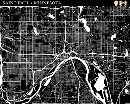 Simple map of Saint Paul, Minnesota, USA. Black and white version for clean backgrounds and prints. This map of Saint Paul contains three markers who are grouped and can be moved separetly in vector version.