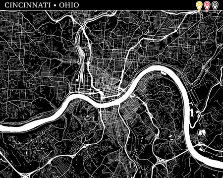 Simple map of Cincinnati, Ohio, USA. Black and white version for clean backgrounds and prints. This map of Cincinnati contains three markers who are grouped and can be moved separetly in vector version.