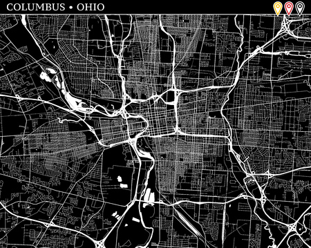 Simple map of Columbus, Ohio, USA. Black and white version for clean backgrounds and prints. This map of Columbus contains three markers who are grouped and can be moved separetly in vector version.