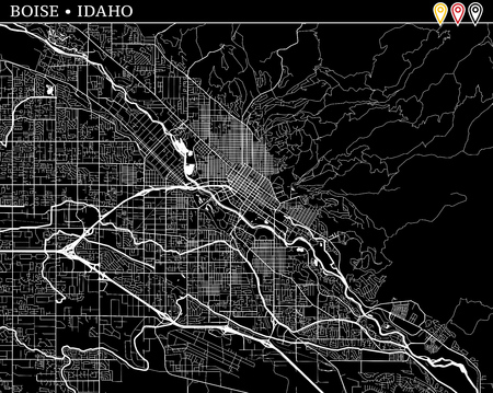 Simple map of Boise, Idaho, USA. Black and white version for clean backgrounds and prints. This map of Boise contains three markers who are grouped and can be moved separetly in vector version.