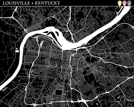 Simple map of Louisville, Kentucky, USA. Black and white version for clean backgrounds and prints. This map of Louisville contains three markers who are grouped and can be moved separetly in vector version.