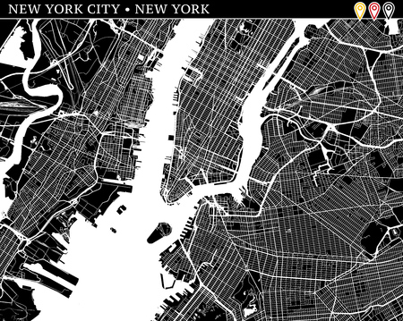 Simple map of New York City, New York, USA. Black and white version for clean backgrounds and prints. This map of New York City contains three markers who are grouped and can be moved separetly in vector version. Ilustração